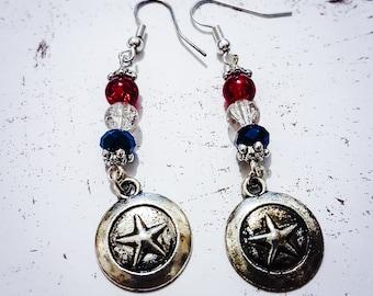 Marvel Inspired Captain America Shield Earrings