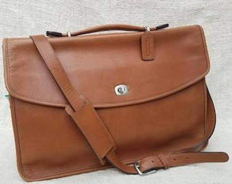 Vintage Coach Lexington Tan Leather Briefcase Attache Laptop Crossbody Messenger Bag Business Satchel Top Handle turn lock hang tag 5265