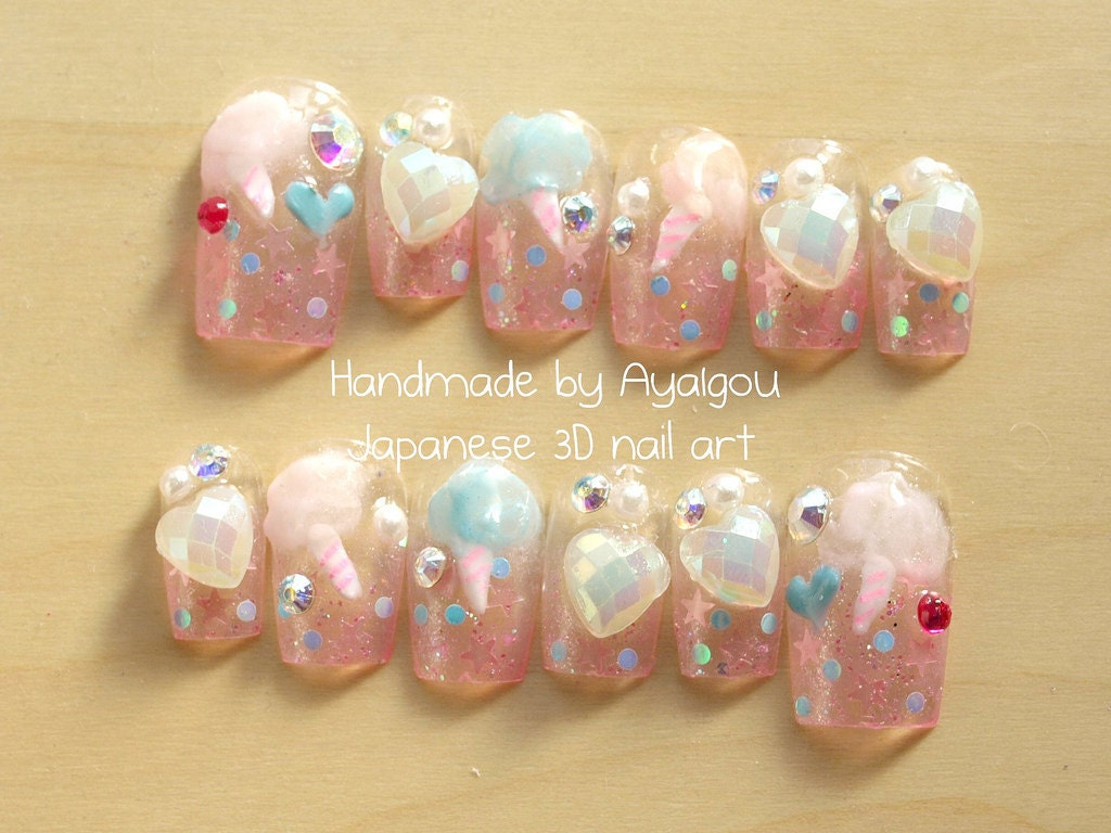 Nail art, Japanese 3D nails, fairy kei, Harajuku, pastel nails ...