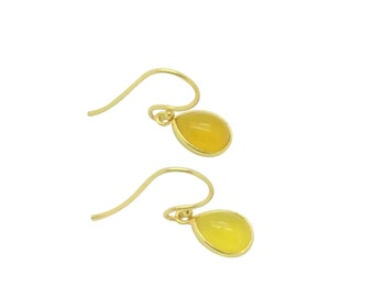 Yellow onyx gemstone earrings, 18k gold drop earrings, Bridal party and birthday gift, Delicate natural stone earrings, Wife gift for mum