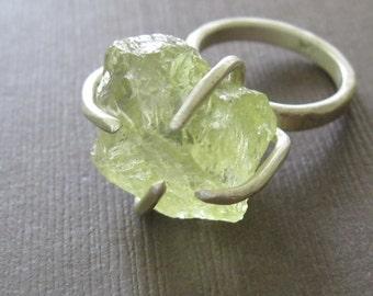 Raw Lemon Quartz Sterling Clutch Ring Primitive Modern