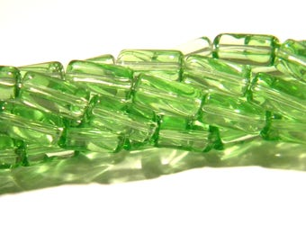 60 beads tube translucent glass - 9 x 4 mm - Green - Pearl translucent glass - bead tube - G97 2