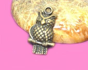 10 OWL charms 20x10mm bronze