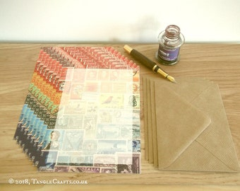 Rainbow Writing Paper Set • A5 Notepaper, Postage Stamp Art Design