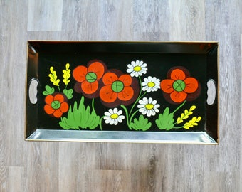 Rectangle Black Tole Tray, Hand Painted Metal Tray, Red Poppies White Daisies, Wall Tray, Toleware Folk Art, Country Farmhouse Decor