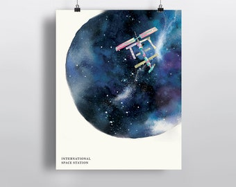 ISS, International Space Station, watercolor art, poster print, wall decor 5 x 7 in, 8 x 10 in, 11 x 14 in