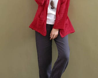 Women cotton and linen Shirt – Loose Long Sleeve Linen and Cotton cardigan shirt