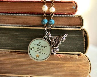 """40% OFF SALE Inspirational pendant necklace with car charm, """"Live Your Dream"""" quote necklace, Choose Your Own Adventure"""