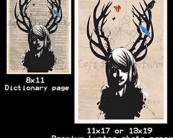 Girl with antlers - Deer girl art print - Dark fae - dictionary page art print