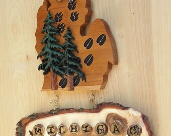 Michigan MI Wooden Cutout - Reclaimed Wood Sign - Butterfly and Pine Trees Wood Carving, Hand Painted Acrylic, Cherry, Willow, Birch Wood