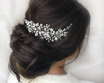 Pearl Flower Bridal Hair Comb Silver Hairpiece Rhinestone Headpiece Pearl Hair Piece Wedding Hair Comb Bridal Beaded Comb Bridal Accessories