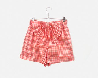 Vintage High Waisted Gingham Shorts in Light Red & White / Detachable Bow / Rockabilly Pin Up