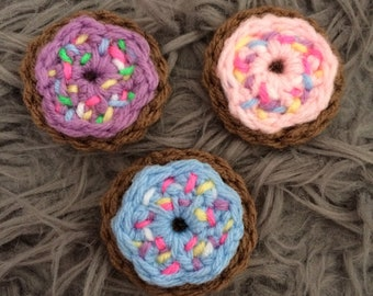 Crochet Frosted Donut Hair Clip