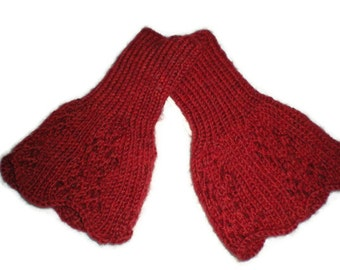 Mittens - Hand Knit Women's Red Wristers