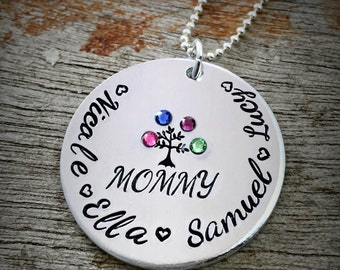 Personalized Name Necklace, Children's Name Pendant, Mommy Necklace, Tree of Life, Mother's Day Gift