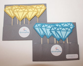 Diamond with glitter cupcake toppers , cupcake toppers , party decor