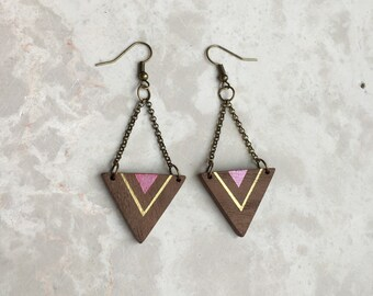 Triangle Wood Dangle Earrings - Wood Jewelry - Painted Wood Earrings - Nature Wedding - 5th Anniversary Gift - Portland Jewelry -