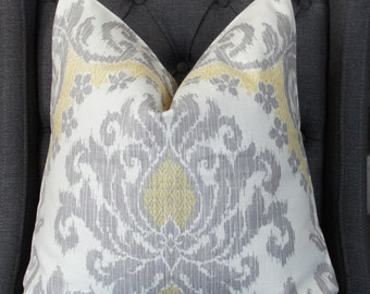 Gray Pillow, Gray and Yellow, Handmade Pillow, Decorative Pillow, Throw Pillow, Toss Pillow, Home Furnishing, Home Decor, Made in USA
