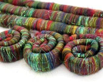 Merino Sparkle Rolags - Fireworks Fine Merino Wool Angelina Sparkle 100g