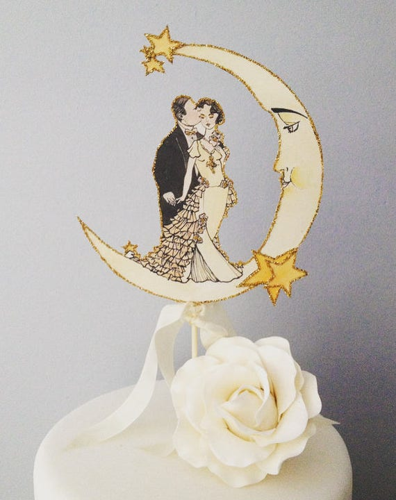 Art Deco Wedding Cake Topper. Moon Cake Topper. Bride and Groom Cake Topper. Featured in Brides Magazine
