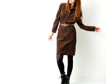 Vintage 80s Cargo Dress / Belted Dress / Shirt Dress / Midi Dress / Long Sleeve Dress / Brown / Size M