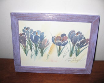 "FLORAL PRINT Artists Proof Grant Dolge Purple Crocuses In Lilac Wood Frame 6"" x 8"" Signed By Artist"