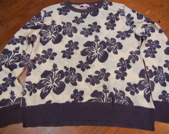 Cashmere sweater - hibiscus flowers - dusty purple and ivory - pullover
