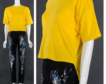 80's Yellow High Low T-Shirt Mullet Top Vintage Tee Unisex