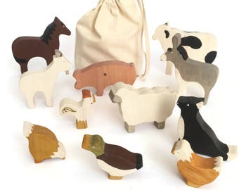 Farm animals wooden toy set - baby shower gift - eco friendly figurines - boys and girls toys - pig, horse, cow, sheep, dog, hens