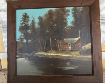 Vintage painting cabin on woods signed Price
