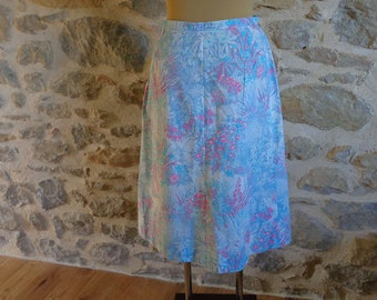 Floral A line skirt, size S, vintage handmade cotton skirt pink blue turquoise flowers