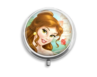 Belle Princess Pill Box, Pill Case, Pill Container , Mints Container, Trinkets Box, Jewelry Box (P030)