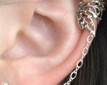 Butterfly Earrings - Chain Earrings - Ear Cuff - Ear Wrap - Earcuff - Sterling Ear Cuff - Ear Cuffs - Silver Ear Cuffs - Ear Cuff Earrings