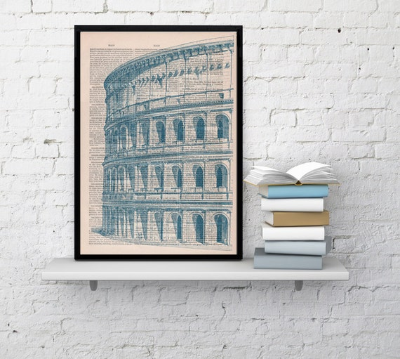 Art print Rome Colosseo detail Print on Vintage Book sheet. Wall art European city wall hanging,Rome print, building BPTV042