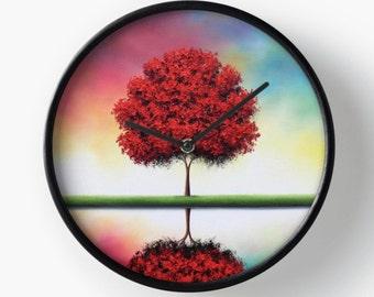 Tree Art Wall Clock, Unique Wooden Wall Clock, Modern Clock, Housewares, Round Circle Clock, Living Room Clock, Circular Colorful Wall Clock