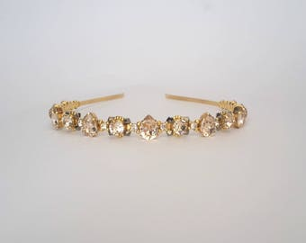 Gold Bridal Tiara Bridal Headband Wedding Gold Crown Wedding Headpiece Gold Crystal Tiara Swarovski Gold Headband Gold Wedding Crystal Crown