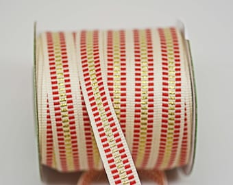 Candy Cane Stripe Cotton Gold Lurex Ribbon -- 1/2 inch -- Christmas Holiday