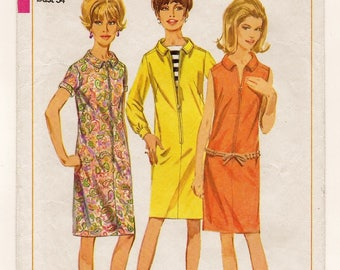 """A One-Piece Long, Short or Sleeveless, Front Zip Shift Dress Sewing Pattern for Women: Retro Size 14, Bust 34"""" • Simplicity 6864"""
