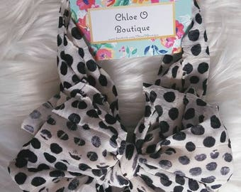 Cream w/ Black Spots Messy Bow Headband