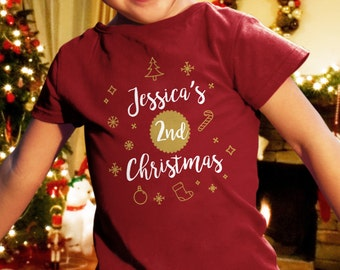 Second Christmas Shirt. Personalized Christmas Toddler Shirt. Holiday Shirt Personalized With Any Name. Christmas Gift. Personalized Gift.