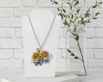 Love Banner necklace with yellow flowers