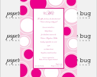 Baby girl or boy polka dot circle shower announcement invitation