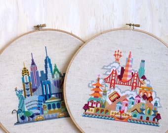 New York and San Francisco - combo download - Satsuma Street Modern Cross Stitch Pattern PDF - Instant Download