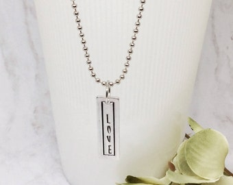 Word Necklace, Custom Word Necklace, Handstamped Necklace, Inspirational Necklace, Word Jewelry, Mantra Necklace, Affirmation Jewelry