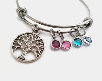 Family tree bracelet - Family tree bangle - Adjustable family tree bangle - Gift for mom or grandma - Family tree gift - Personalized bangle