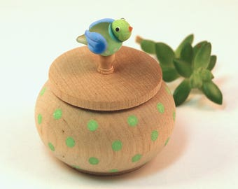 Tiny Wood Trinket Box with  Lampwork Glass Green Blue Birdie Knob/Finial