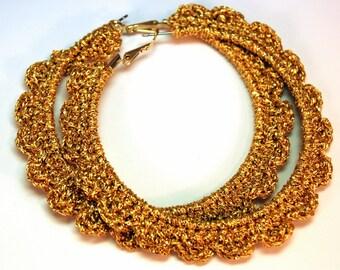 """Crochet Ruffled Hoop Earring 2.5 """" Gold"""