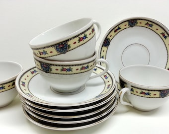Celebrate Czech Porcelain Cup & Saucer Sets (4), Vintage Czechoslovakia China