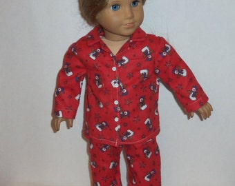 Snowman Pajamas, 18 Inch Doll, Red Flannel PJ's, Snowmen, American Made, Girl Doll Clothes, Christmas Jammies
