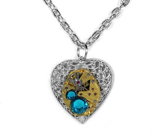 Steampunk Necklace Vintage GOLD Watch Silver Filigree HEART Turquoise Crystals Wedding Mother Holiday Bridesmaids Gift - Steampunk Boutique